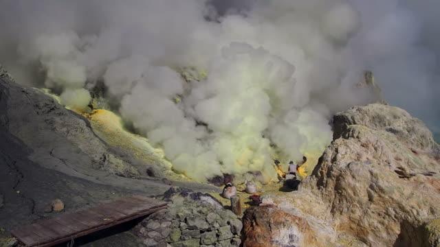 Mining Operation at Kawah Ijen Volcano, East Java, Indonesia video