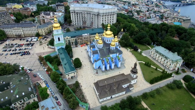 Ministry of Foreign Affairs Saint Michaels Cathedral of Kyiv cityscape of Ukraine video