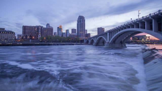 Minneapolis and the 3rd Avenue Bridge over the Mississippi River at Sunset