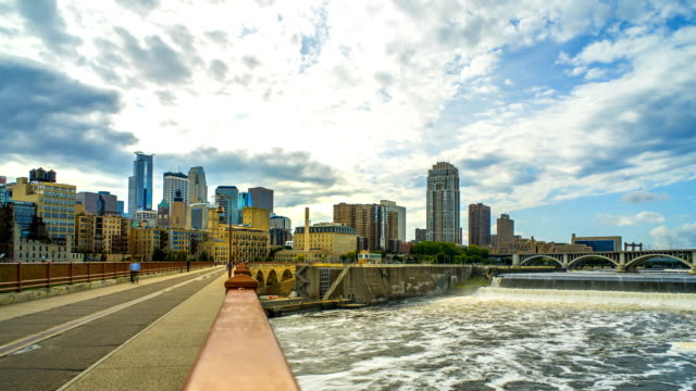 Minneapolis Skyline Stone Arch Bridge Time Lapse Logos Removed 4K 1080p