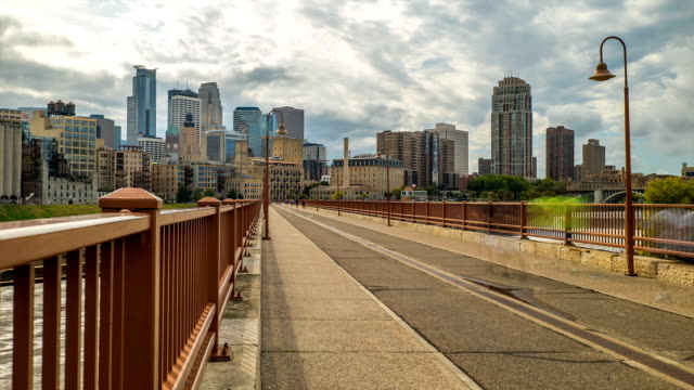 Minneapolis Skyline Stone Arch Bridge Time Lapse Logos Removed