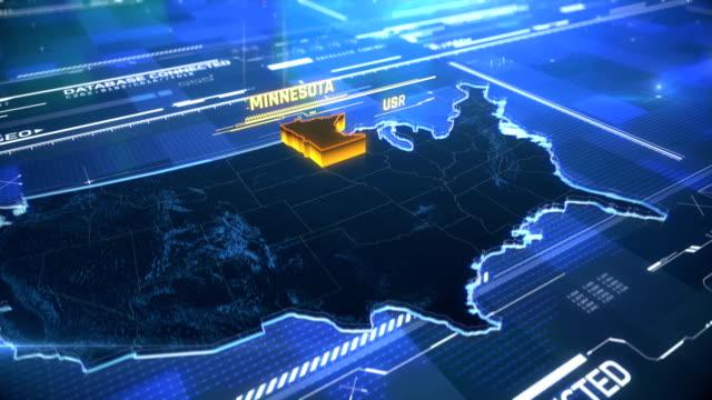 明尼蘇達州美國邊境3d 現代地圖與名稱, 地區輪廓 - 州立公園 個影片檔及 b 捲影像