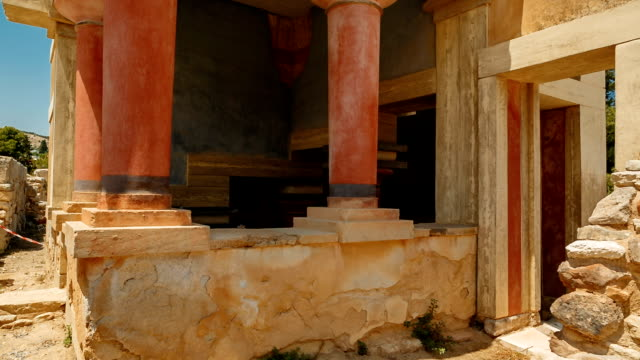 Minoan Palace of Knossos, Heraklion, Crete, Greece Crane shot of a temple within the complex of the Minoan Palace of Knossos, Heraklion, Crete, Greece. Knossos is the largest Bronze Age archaeological site in Crete. palace stock videos & royalty-free footage