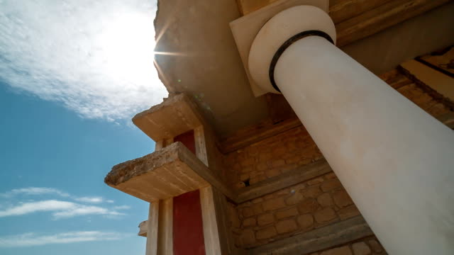 Minoan Palace of Knossos, Heraklion, Crete, Greece Spectacular wide-angle rotating view of a spectacular temple in Knossos, Heraklion, Crete, Greece with Minoan frescoes palace stock videos & royalty-free footage