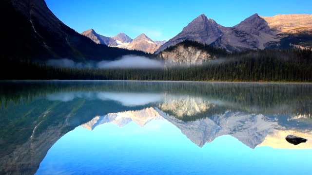 Mirrored Image of mountains on lake surface video