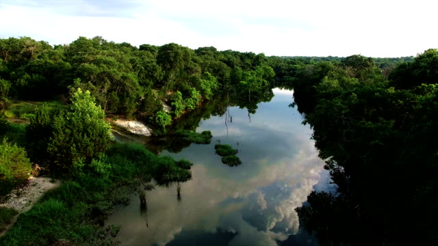 Mirrored Reflection along Brushy Creek Austin and Round Rock area aerial drone over gorgeous tropical river video