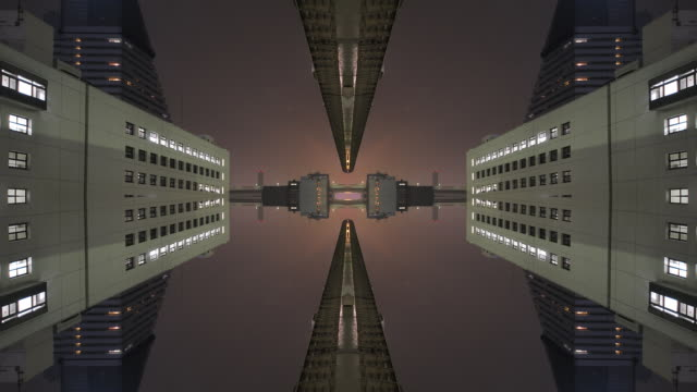 Mirrored symmetric time lapse through a city video