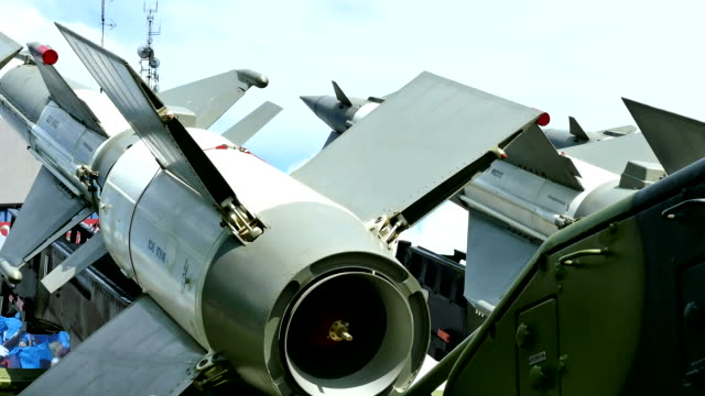 Missile defense systems Launching ramp with military missile systems to defend against attacks from the air.Middle range rocket systems nuclear missile stock videos & royalty-free footage