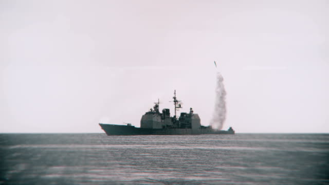 Missile launched from a navy vessel. video