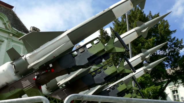 Missiles for defense against attacks from the air Launching ramp with military missile systems to defend against attacks from the air.Medium-range rocket systems nuclear missile stock videos & royalty-free footage