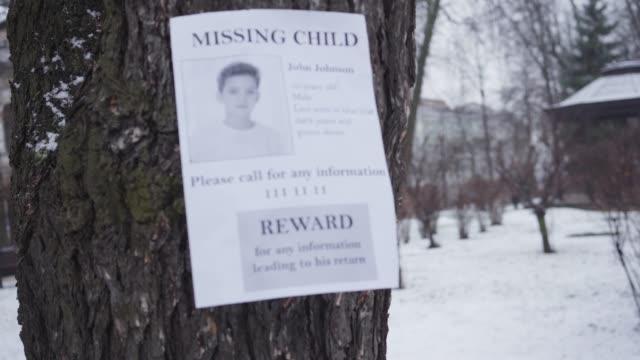 saknad kaukasisk pojke annons hängande på trädet på vintern. information om belöning för alla uppgifter om lite kidnappat barn. kidnappning, förlust, sök. - saknad känsla bildbanksvideor och videomaterial från bakom kulisserna
