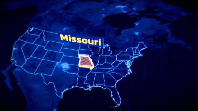 us missouri state border 3d visualization, modern map outline, travel - missouri стоковые видео и кадры b-roll