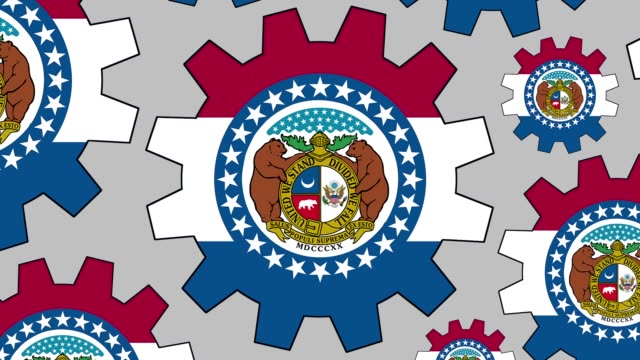 missouri us state flag gears spinning background zooming out - missouri стоковые видео и кадры b-roll