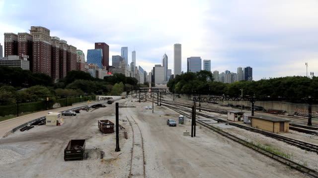 Misty Chicago skyline with transit train video