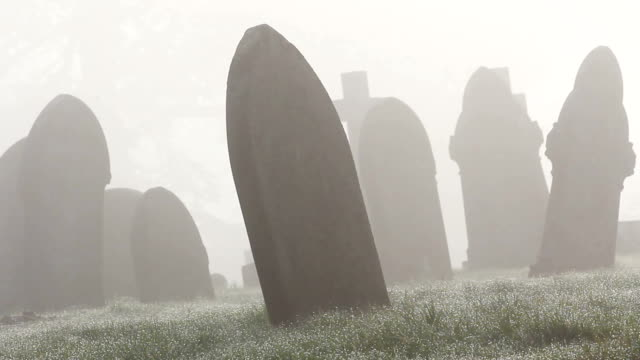 Misty Foggy Spooky Graveyard With Old Tombstones And Grave Headstones video
