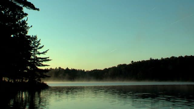 Misty morning or sunset on lake video