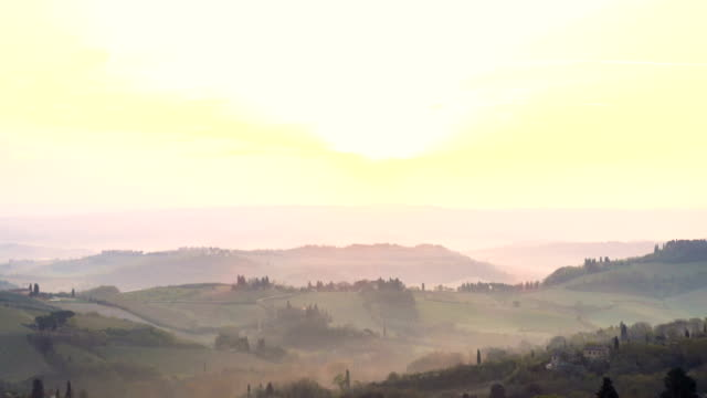 misty morning panorama from the San Gimignano walls, Toscana, Italy video