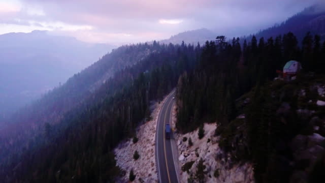 Misty Mountain Highway - Aerial Shot video