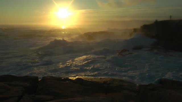 Misty Surf at Peggys Cove  coastal feature stock videos & royalty-free footage