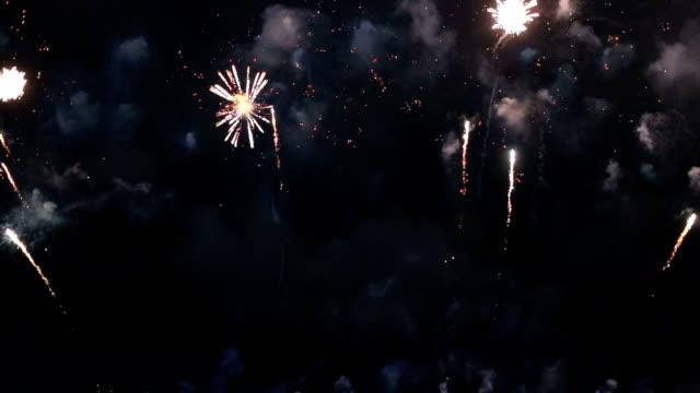 Mix fireworks or firecracker on dark sky.