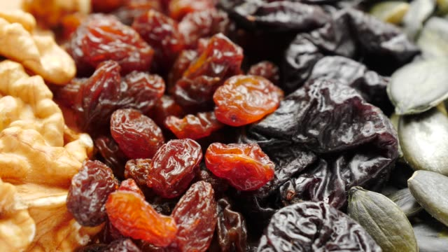 Mix of dried fruits and nuts video