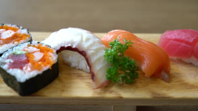 mix raw sushi - japanese food style video