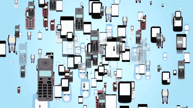 vídeos de stock e filmes b-roll de mixed 2d motion graphic animation of mobile phones evolution old and new mobile phones, a few generation of phones on cycle seamless loop repeating. - evolução