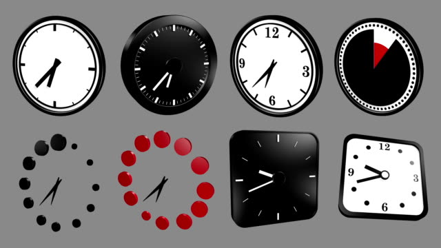 Mixed Clock icons animation, loop and alpha channel video