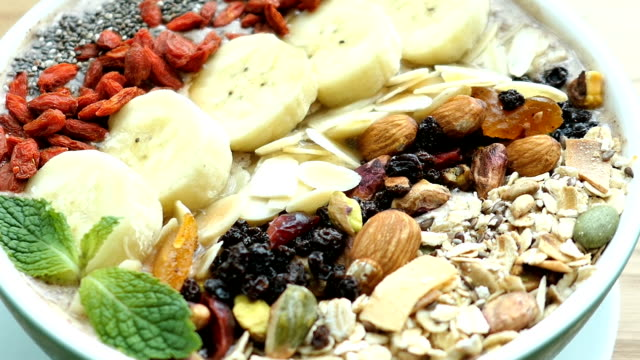 Mixed fruit with muesli and granola video