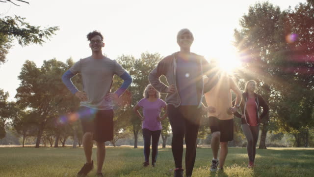 4K SLO MO: Mixed Group Sunrise Fitness A mixed group of young adults and seniors exercising together during the early morning hours healthy lifestyle stock videos & royalty-free footage