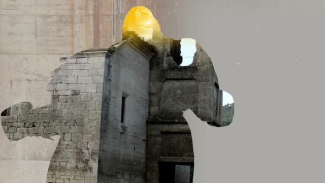 古い教会や 3 d アニメーションから 2 つの映像のミクスト メディア - シュール点の映像素材/bロール