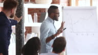 istock Mixed race business coach teach company staff during corporate training 1173912678