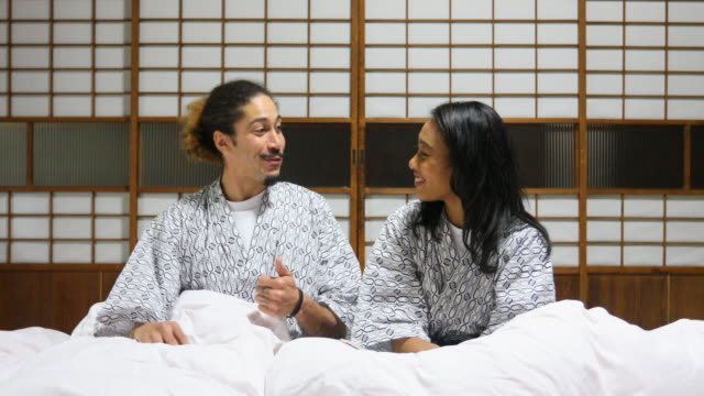 Mixed Race Couple in a Japanese Futon Bed