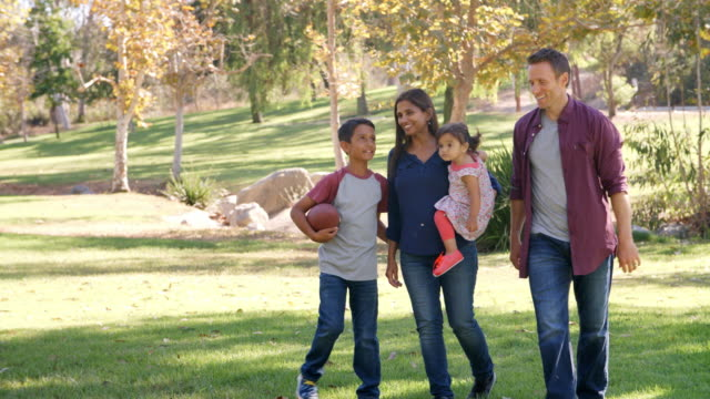 Mixed race family walking in a park, front view Mixed race family walking in a park, front view mixed race person stock videos & royalty-free footage