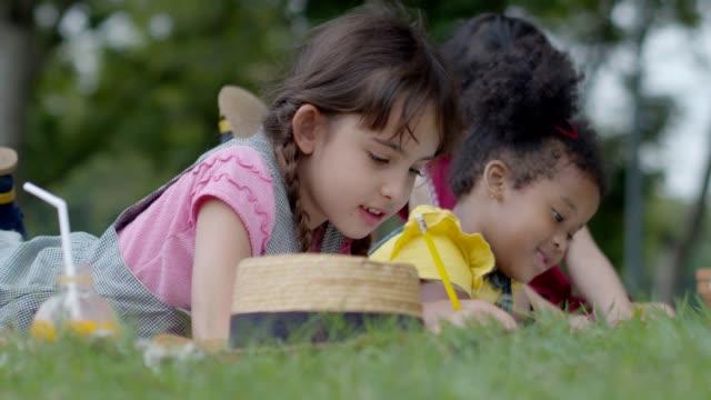 blandade race flickor rolig lek i offentlig park på grönt gräs och blomma helg semester. slow motion-bilder. teckning och målning tecknad. - naturparksområde bildbanksvideor och videomaterial från bakom kulisserna