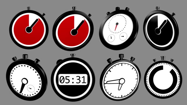 Mixed stopwatch icons animation, loop and alpha channel video