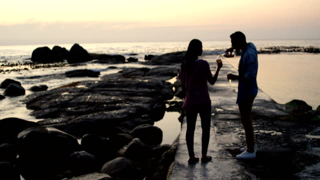 mixed-race Couple having wine at beach during sunset 4k