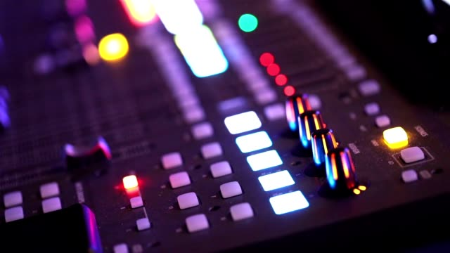 DJ Mixer at the party, DJ's work on the evening, wedding party video