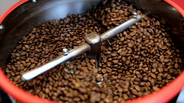 Mixing roasted coffee video