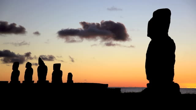 Moais at sunset, Easter Island, Chile video