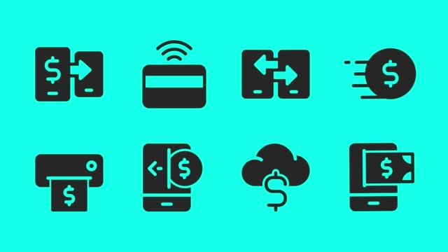 mobile banking and payment icons - vector animate - icons стоковые видео и кадры b-roll