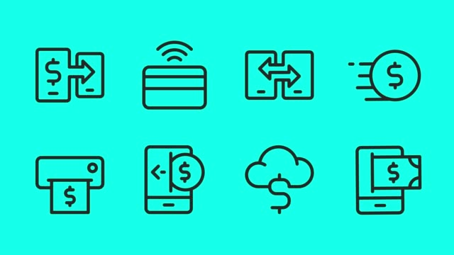 mobile banking and payment line icons - vector animate - online banking video stock e b–roll