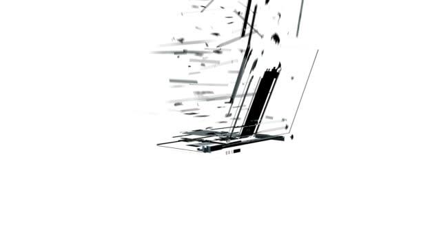 mobile chunk auflösen in laptop gegen weiße, alpha - scheibe portion stock-videos und b-roll-filmmaterial