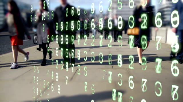 Mobiele apparaten uitstoten van gegevens uit het woon-werkverkeer kantoorpersoneel. video