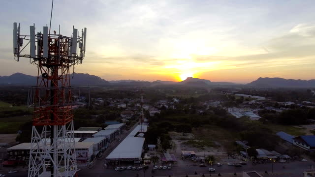 Mobile Modern Telecom Tower with Dusk Sky in Countryside Area video