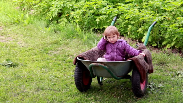 Mobile Office - Baby sitting inside the wheelbarrow and talking on the mobile phone