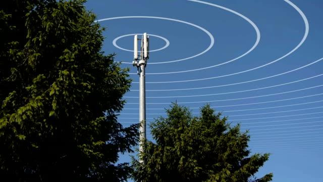 en mobiltelefon masten sänder radiovågor. - telekommunikationsutrustning bildbanksvideor och videomaterial från bakom kulisserna