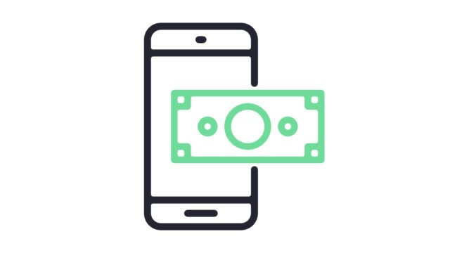 Mobile Payment System Line Icon Animation with Alpha