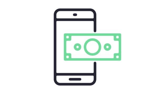 vídeos de stock e filmes b-roll de mobile payment system line icon animation with alpha - shop icon