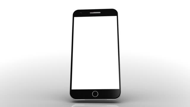 vídeos de stock, filmes e b-roll de celular 3d. fundo branco. acabamento luma. - fundo branco